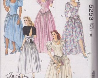 McCall's 5253 Misses' Bridesmaids' Gowns or Dress, Prom Dress, Wedding Dress Size 10 Vintage UNCUT Pattern 1991 Rare and OOP