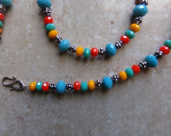 Bright Glass Beads with Bali Silver. Orange Red Blue Green Faceted Glass