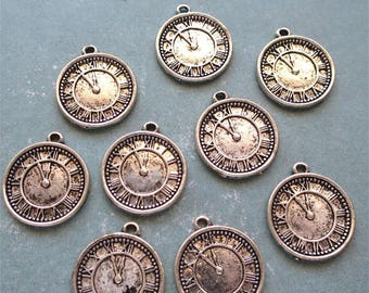 Clock watch charms silver tone