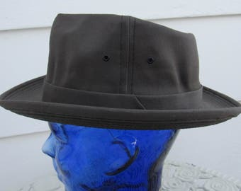 NOS 1950s Vintage 50s Gray Canvas Rain Hat Fedora 7 1/4 Water Resistant Office Wear