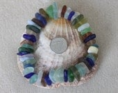 AWESOME BEACHGLASS BEADS. 50 Terrific center drilled  small beach glass pieces in wonderful shapes,sizes and colors  zy317