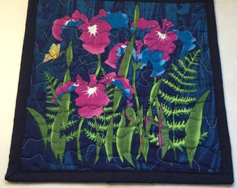 Quilted Blue Floral Mug Rug, Blue Floral Quilted Mini Placemat, Floral Quilted Snack Mat
