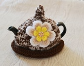 1 - 2 Cup Hand Knitted Tea cozy Pot Cover, Flower Cozy