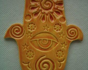 EYE - HAMSA Hand, Good Luck, Protection - Ceramic Mosaic Tiles