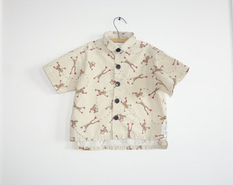 Vintage Tan Frog Button Up Shirt