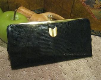 Vintage black lizard embossed leather wallet, slim Bond Street black leather coin card wallet clutch, retro coin wallet card clutch