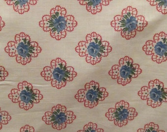 "Vintage Fabric 3 3/4 yards x 35"" wide Blue Roses"