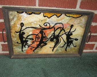 Vintage 1920s Art Deco Gorgeous Tray with Lovely Silhouette Dancers Design
