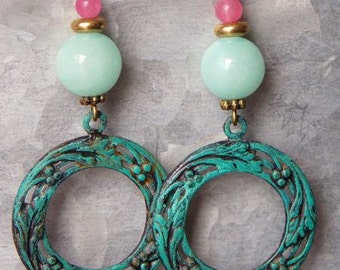 Gemstone Earrings Pink & Aqua Drop Dangle Earrings Patina Verdigris Semi Precious Stone Earrings Boho Bohemian Charm Jewelry Gift Vintaj
