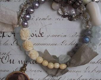 L'Innocence - Vintage and Gemstone assemblage bracelet