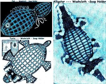 Fish-Turtle-Alligator Soap Holders Washcloths (3) Vintage Crochet Pattern 723026