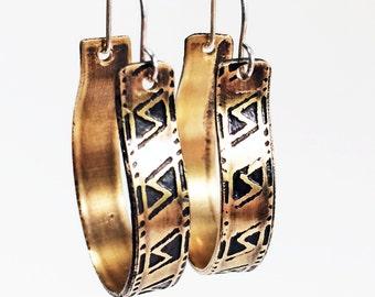 Hoop Earrings, Etched Brass, Art Deco Geometric Earrings - Free Domestic Shipping