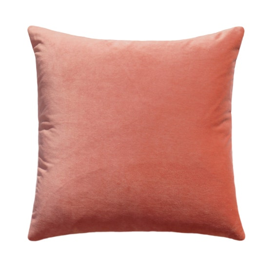 Best Throw Pillow Filling : Peach Velvet STUFFED Throw Pillow Both Sides Velvet 16x16