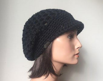 Rasta Mesh Slouchy Cap brimmed hat Black Eco Friendly Hemp Wool Blend Autumn Fall Winter Fashion Ready to ship