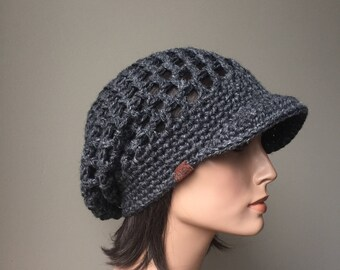 Rasta Mesh Slouchy Cap brimmed hat grey Eco Friendly Hemp Wool Blend Autumn Fall Winter Fashion Ready to ship