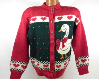 Ugly Christmas Sweater Vintage Cardigan Wool M Holiday Tacky Goose Ducks