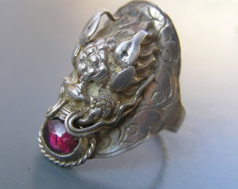 MASSIVE Vintage Dragon Ring . Sterling Silver . Garnet . Chinese Jewelry