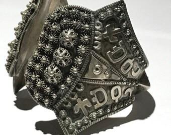WIDE Vintage Silver cuff bracelet . Turkish  Ottoman Silver Jewelry