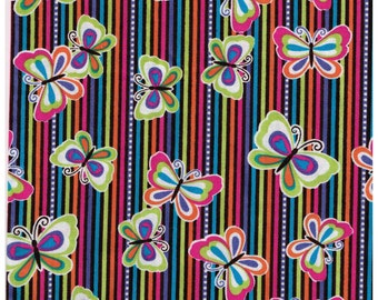 1/2 Yard Cut Butterfly Stripes Cotton Fabric for Sewing Crafts .5 Yd Pink Blue Orange, Purple Lime Green, Rainbow Colors