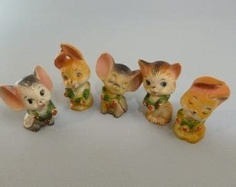 Vintage Plastic Cat Mice Bunny Display or Shadowbox
