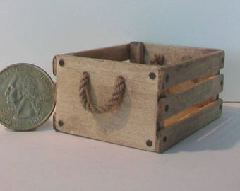 Mini Crate with Rope Handles  1:12 scale