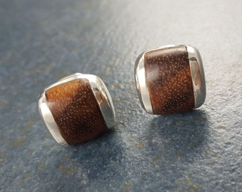 Cuff Links, Wood, Honduras Rosewood, Sterling Silver, Gift, Hand Made, Accessories