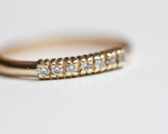 Diamond Wedding Band - Recycled 14k Gold - Diamond Stacking Ring - Dainty Stacking Ring