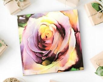 Rose Flower Artwork - Canvas Art Print - Rose Artwork - Shades of Mauve Flower Art - Rose Art - Flower Canvas Art - Flower Wall Art - 8x8