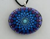 Boho chic-bohemian jewelry-hippie gypsy tribal boho-mandala stone-Yoga chakra-dot art-painted rock-Zen-ooak 3D neon glow-ombre blue amethyst