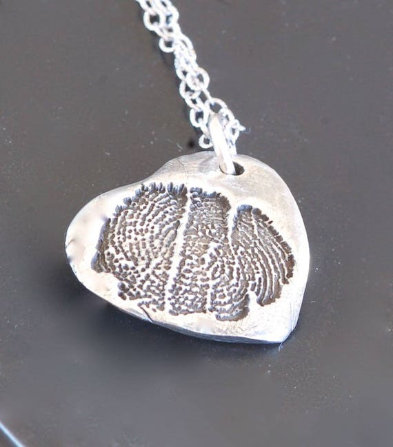 Custom Listing for Keri - Hospice Fingerprint Jewelry - Angel Wing Heart Pendant