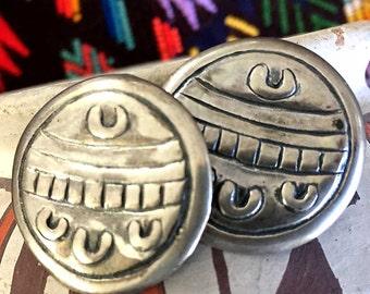 Jessica Felix Pierced Stud Sterling Earrings | Vintage Ethnic Handmade Tribal Sterling Silver Post | Bold Boho | Signed | Gift Boxed | 1980s