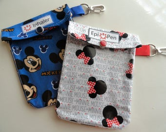 Epi Pen (Auvi Q) or Inhaler Pouch Clear Front W/ Clip Holds 1 - 2 Square Allergy Injectors or Asthma Puffer 4x5 Your Choice Mickey or Minnie