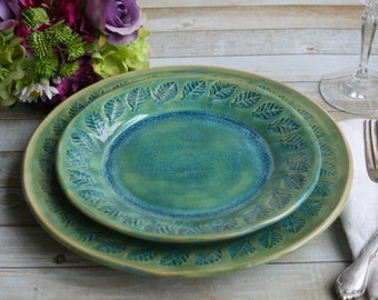 Two Rustic Dinnerware Place Settings Handmade Ceramic Stoneware Shimmering Green Pair of Dinner and Salad Plates Made in USA Ready to Ship