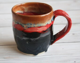 Stoneware Mug with Dripping Gold and Earthy Glazes Handmade Stoneware Coffee Cup Made in USA Ready to Ship