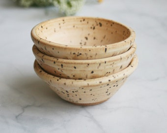 Ceramic Prep Bowls - Set of Three Rustic Speckled Stoneware Bowls in Matte Vanilla Cream Glaze Made in USA Ready to Ship