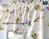 Nature Lovers Bees Bugs Flowers Clover on White Curtain Window Treatment Short Valance  by Idaho Gallery