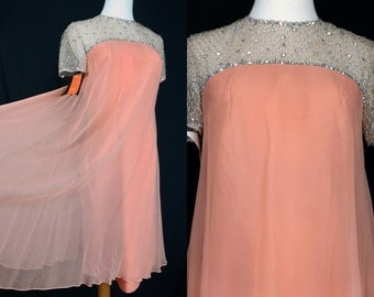 1960s Peach Chiffon Babydoll Dress Empire Waist Rhinestone Lace Mini Small Go Go