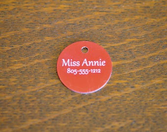 Red  Aluminum Custom Laser Engraved Dog Tag Charm CC631