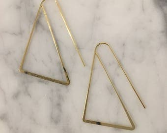 Gold Plated, High Polished Triangle earrings