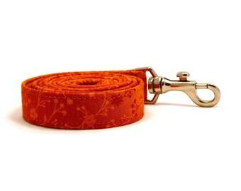 Orange floral dog leash - Orange pet lead - Sun yellow floral pet leash - Staring At The Sun