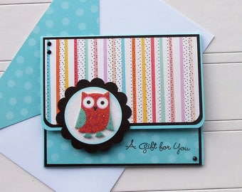 All Occasion Gift Card / Money Holder with Matching Embellished Envelope - Hooty Cutey