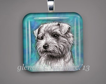 Norfolk Terrier Dog Fine Art Drawing on a Glass Pendant