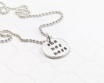 Pronoun Choice Necklace - Preferred Pronoun Jewelry - Ask About My Pronouns - Transgender Jewelry - Personalized Necklace - Stamped Necklace