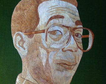Erckle  I am falling down and I can't get up T V star of 80s Rice straw art portrait of ERCKLE collectible art Handmade with rice straw art