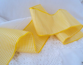 "Kathleen's Hair Ribbon ~ 1930s Silk Yellow White mini check ~ 3"" wide by 1 yd."
