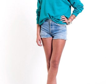 30% OFF HOLIDAY SALE The Aqua Stars Turquoise 50/50 Crewneck Sweatshirt