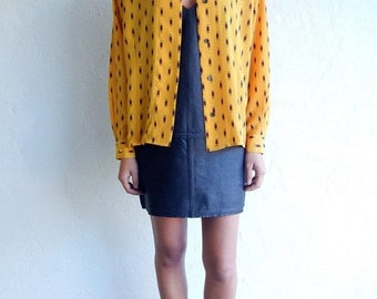 "35% OFF SPRING SALE Mustard Yellow ""Pill Box"" Print Buttondown"