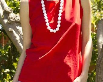 35% OFF SPRING SALE Red Simple Tank