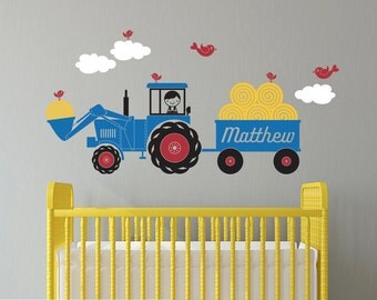 Tractor Boy Wall Decal: Personalized Name Hay Wagon Farm Theme Baby Nursery