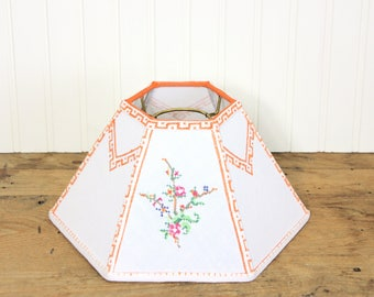 Hurricane Lamp Shade - Vintage Embroidered Lamp Shade - Floral Chimney Lampshade - French Linen - Cottage Decor - Orange - One of a Kind!